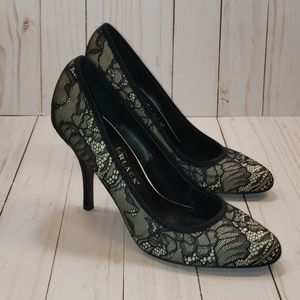 WHBM Black Lace High Heel Pumps. Size 8